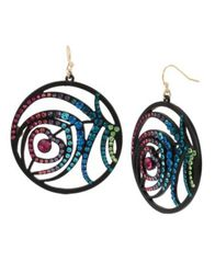 Image of Betsey Johnson Peacock Feather Round Drop Earrings