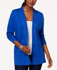 Image of Karen Scott Petite Studded Cotton Cardigan, Created for Macy's