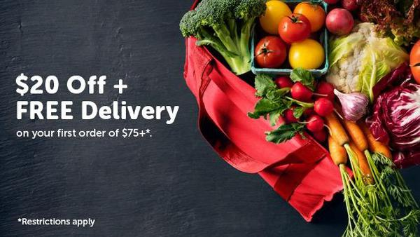 "Bag of fresh vegetables.  ""$20 off + FREE Delivery on your first order of $75+.  Restrictions Apply"""