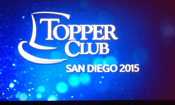 "A sign that reads, ""Topper Club San Diego 2015"""