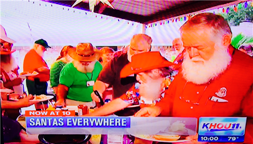 KHOU came by visited and interviewed members of the Lone Star Santas.