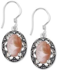 Image of Marcasite & Pink Shell Oval Filigree Drop Earrings in Fine Silver-Plate
