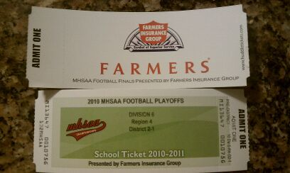 Photo of football ticket w/Farmers logo on the back.