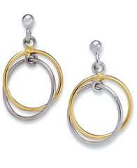 Image of Giani Bernini Sterling Silver and 18k Gold over Sterling Silver Earrings, Double Drop Earrings