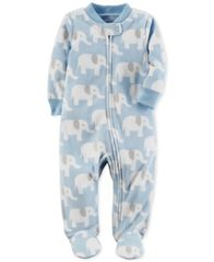 Image of Carter's Elephant-Print Fleece Footed Coverall, Baby Boys (0-24 months)