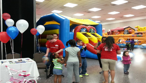 Lots of kids with our employees at the Exxon Family Day.