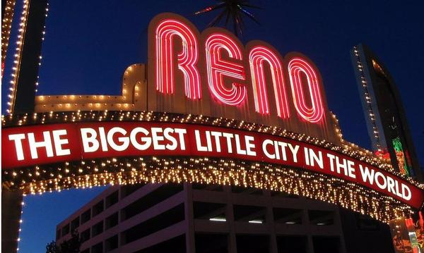 A big colorful sign for the city of Reno