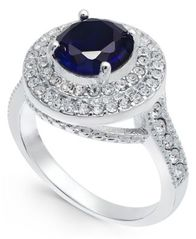 Image of Charter Club Silver-Tone Crystal & Sapphire Stone Halo Ring, Created for Macy's