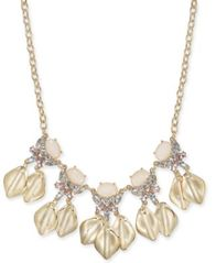 "Image of I.N.C. Gold-Tone Stone & Crystal Petal Statement Necklace, 17"" + 3"" extender, Created for Macy's"