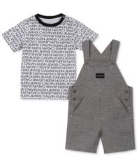 Image of Calvin Klein Baby Boys 2-Pc. T-Shirt & Shortalls Set