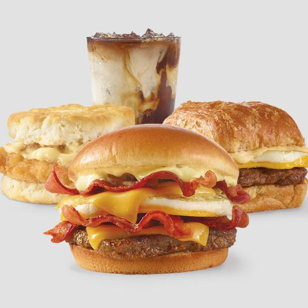 Breakfast Baconator™, Honey Butter Chicken Biscuit, Sausage, Egg & Swiss Croissant & Frosty®️-ccino