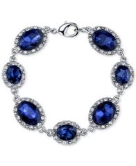 Image of 2028 Silver-Tone Blue Stone Pavé Link Bracelet, a Macy's Exclusive Style