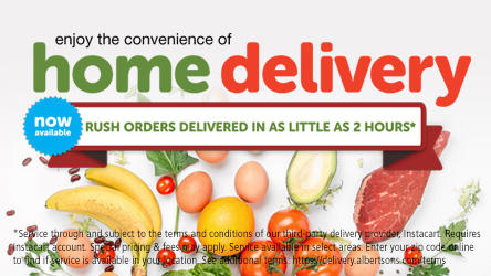 Enjoy the convenience of home delivery.  Picture of fruits, vegetables and meat.