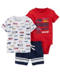 Image of Carter's 3-Pc. Cotton Cars-Print T-Shirt, Bodysuit & Shorts Set, Baby Boys
