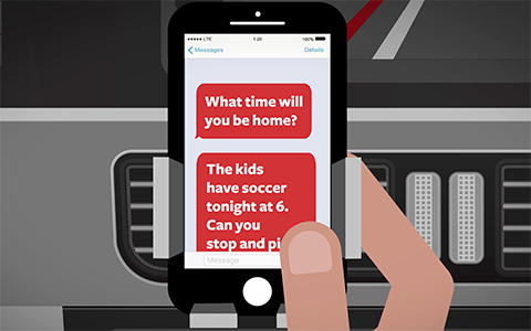 Animated image of a hand holding a phone, meant to interpret someone reading text messages and being distracted from the road