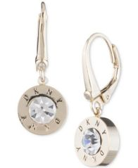 Image of DKNY Crystal Logo Drop Earrings, Created for Macy's