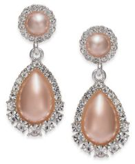 Image of Charter Club Silver-Tone Pavé & Stone Drop Earrings, Created for Macy's