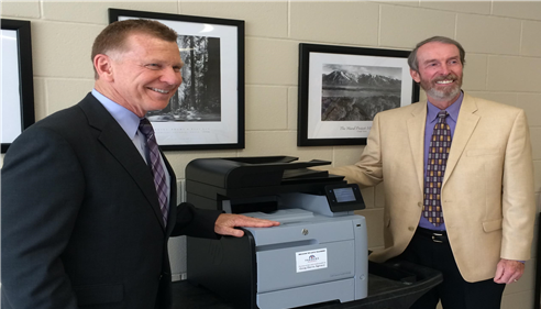 Local teachers awarded - Greg presented this color copier to Bellbrook Schools.