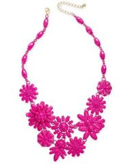 "Image of I.N.C. Gold-Tone Beaded Flower Statement Necklace, 18"" + 3"" extender, Created for Macy's"