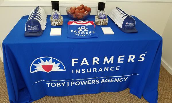 A table full of farmers swag