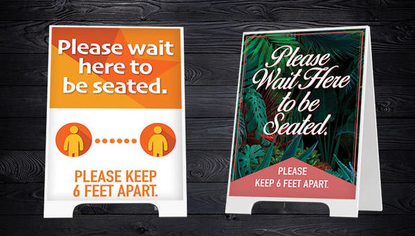 custom a-frame sidewalk signs for social distancing