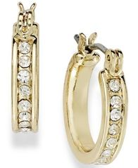 Image of Charter Club Gold-Tone Crystal Mini Hoop Earrings