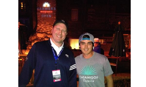 Agent Jeff Hazen with another man at the Farmers® Insurance Golf Open.