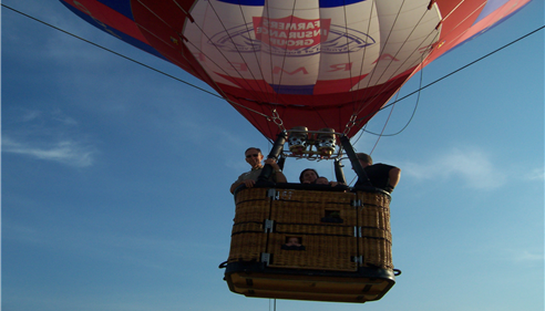 Taking a ride in the baloon. What a great day!