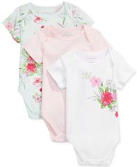 Image of First Impressions 3-Pk. Dots & Flowers Bodysuits, Baby Girls, Created for Macy's