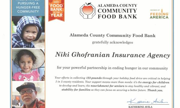 certificate for donating food to the community.