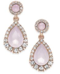 Image of Charter Club Rose Gold-Tone Pavé & Pink Stone Drop Earrings, Created for Macy's