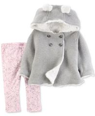 Image of Carter's 2-Pc. Hooded Sweater Jacket & Printed Leggings Set, Baby Girls (0-24 months)