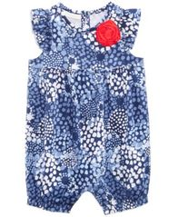 Image of First Impressions Printed Cotton Romper, Baby Girls, Created for Macy's