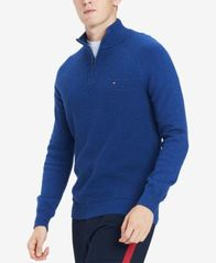 Image of Tommy Hilfiger Men's Waffle Knit Quarter-Zip Sweater, Created for Macy's