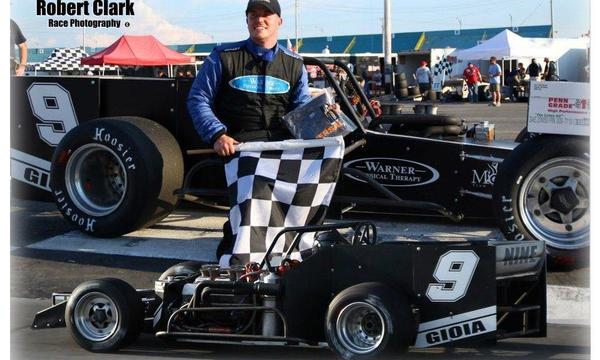 Stephen in Victory Lane at Oswego Speedway!