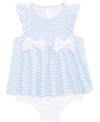 Image of First Impressions Striped Skirted Romper, Baby Girls, Created for Macy's