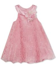 Image of Rare Editions Pleated Lace Dress, Baby Girls