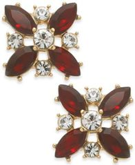 Image of Charter Club Gold-Tone Crystal & Stone Stud Earrings, Created for Macy's