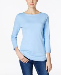 Image of Charter Club Boat-Neck Button-Shoulder Top, Created for Macy's