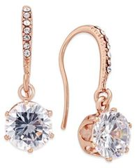 Image of Charter Club Rose Gold-Tone Cubic Zirconia Drop Earrings, Created for Macy's