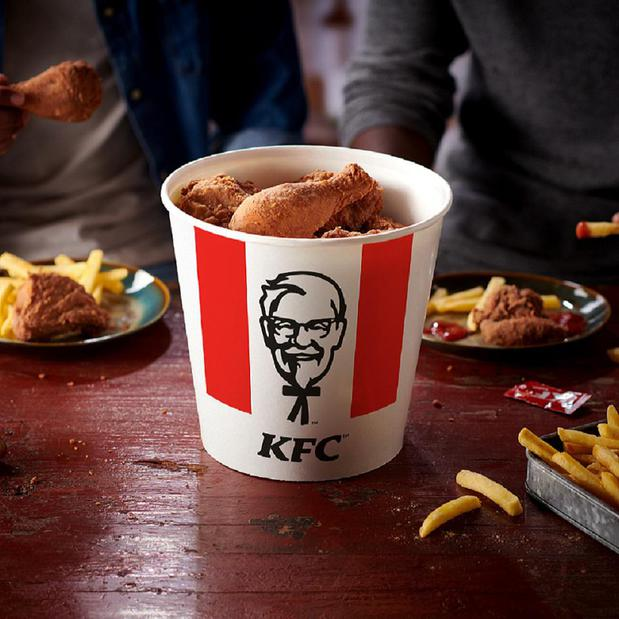 A bucket of KFC original recipe chicken pieces