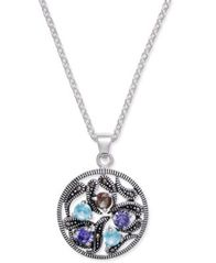 Image of Marcasite & Crystal Vine Disc Pendant Necklace in Fine Silver-Plate