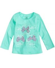 Image of First Impressions Bows-Print Cotton T-Shirt, Baby Girls, Created for Macy's