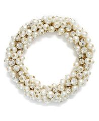 Image of Charter Club Glass Pearl and Bead Cluster Bracelet