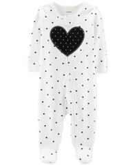 Image of Carter's Baby & Girls 1-Pc. Heart Cotton Footed Pajamas