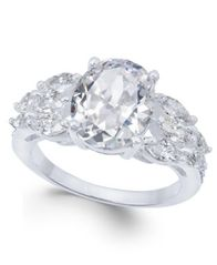 Image of Charter Club Silver-Tone Triple-Cubic Zirconia Ring, Created for Macy's