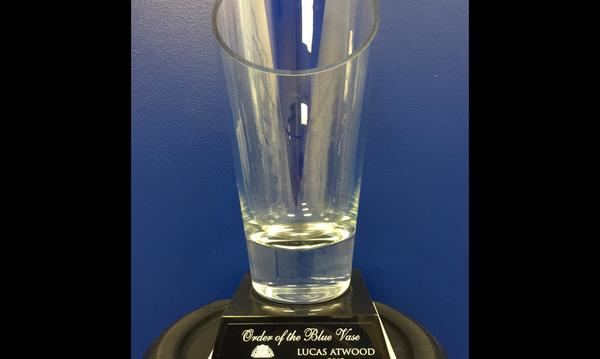 The Atwood Insurance Agency earned the Farmers Life Blue Vase award.  PWS 88194A.3	8/17