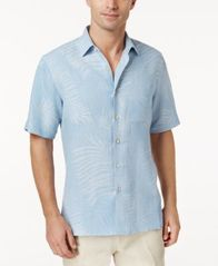 Image of Tasso Elba Linen Leaf Jacquard Short-Sleeve Shirt, Created for Macy's