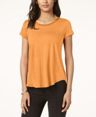 Image of Alfani Satin-Trim High-Low T-Shirt, Created for Macy's