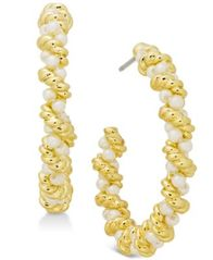 Image of Charter Club Gold-Tone Imitation Pearl Twist Hoop Earrings, Created for Macy's